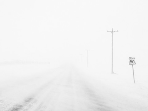 A snow storm blocks all visibility on a road except for a few electricity posts.